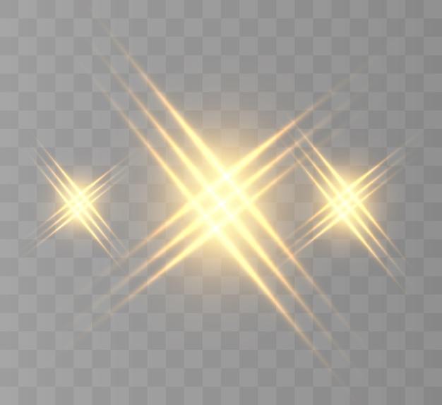 背景やイラストの光の効果。新しい星、明るい太陽。