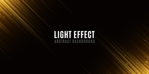 Light effect of golden abstract random neon lines. template for your design. motion blur effect. flying glowing particles. blurred neon lines on black background.