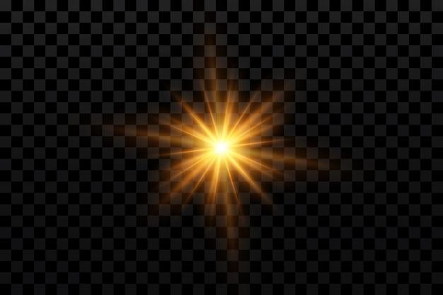 Light effect golden bright star yellow sun starlight