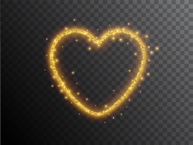 Effetto luce a forma di cuore su sfondo nero. cuore al neon incandescente d'oro con polvere luminosa e riflessi. cuore luminoso. effetto luce elegante astratto.