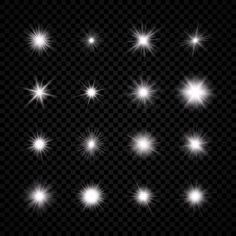 Light effect of lens flare. set of sixteen white glowing light explodes with starburst effects and sparkles on a transparent background. vector illustration