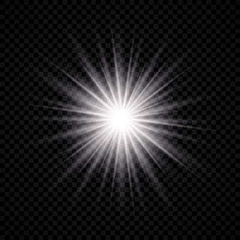 Light effect of lens flare. white glowing light explodes with starburst effects and sparkles on a transparent background. vector illustration