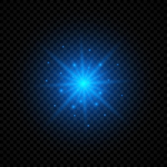 Light effect of lens flares. blue glowing lights starburst effects with sparkles on a transparent background. vector illustration