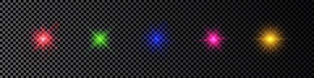 Light effect of lens flares. set of five multicolor glowing lights starburst effects with sparkles on a dark transparent background. vector illustration