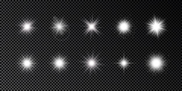 Light effect of lens flares. set of ten white glowing lights starburst effects with sparkles on a dark transparent background. vector illustration