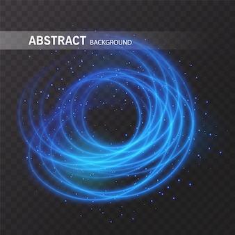 ライトエフェクトラインサークル。輝く光の火の輪の痕跡。透明な背景にキラキラ魔法の輝きスワールトレイル効果。ライトグリッターラウンドウェーブライン
