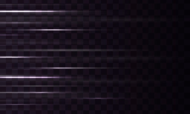 Полоса светового эффекта. набор белых горизонтальных вспышек. свечение световой вспышкой, искрой.