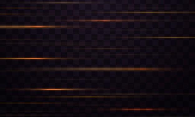 Light effect line streak. yellow horizontal lens flares pack. glow light flare, spark.