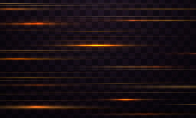 Полоса светового эффекта. желтые горизонтальные блики линз