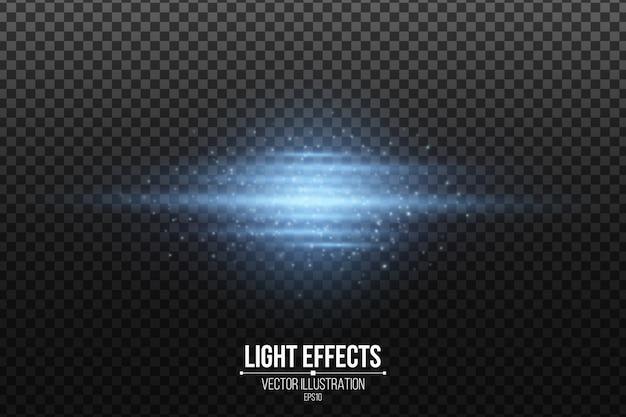 Световой эффект синих абстрактных светящихся линий изолированы. сканер эффекты. блестящий элемент технологии.