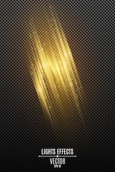 Световой эффект золотых абстрактных случайных неоновых линий, изолированных на прозрачном фоне. светящийся эффект размытия движения. летающие светящиеся частицы.