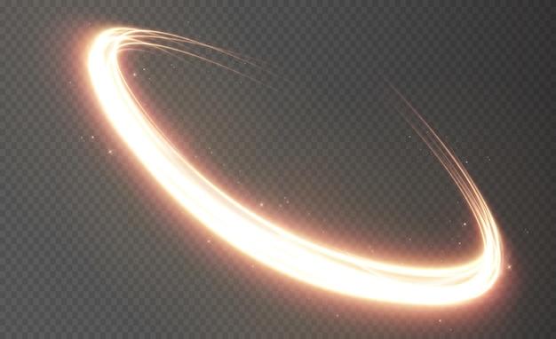 원형 조명기구에서 움직이는 빛의 황금 라인 조명 효과 빛 라인
