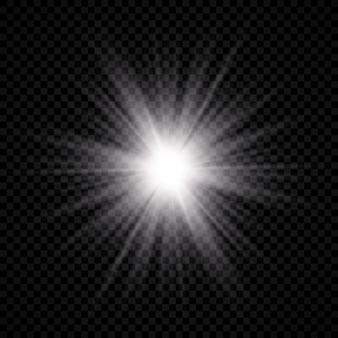 レンズフレアの光の効果。白く光る光がスターバースト効果で爆発し、透明な背景に輝きます。ベクトルイラスト