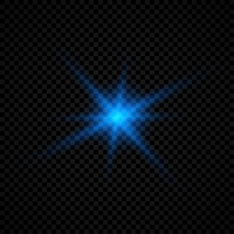 Световой эффект бликов линз. синие светящиеся огни звездообразования с блестками на прозрачном фоне. векторная иллюстрация