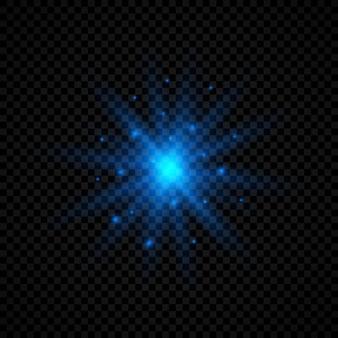 レンズフレアの光の効果。透明な背景にキラキラと輝く青い光るライトスターバースト効果。ベクトルイラスト
