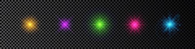 レンズフレアの光の効果。暗い透明な背景に輝きを放つ5つの多色光るライトスターバースト効果のセット。ベクトルイラスト