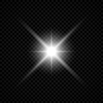 Световой эффект бликов линз. белые светящиеся огни звездообразования с блестками на прозрачном фоне. векторная иллюстрация
