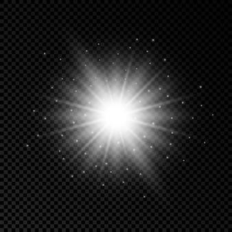 Световой эффект бликов линз. белые светящиеся огни эффекты звездообразования с блестками на прозрачном фоне. векторная иллюстрация