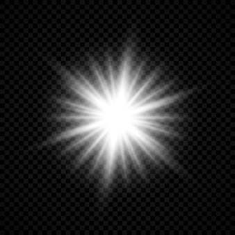レンズフレアの光の効果。透明な背景にキラキラと輝く白い光るライトスターバースト効果。ベクトルイラスト