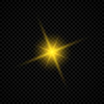 Световой эффект бликов линз. желтые светящиеся огни звездообразования с блестками на прозрачном фоне. векторная иллюстрация