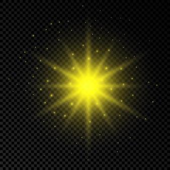 レンズフレアの光の効果。黄色の光るライトは、透明な背景に輝きを放つスターバースト効果をもたらします。ベクトルイラスト