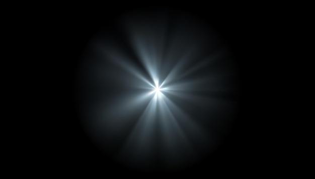 Световой эффект лучей вспышки сияния, белого светового луча или солнечного сияния или взрыва на черном фоне