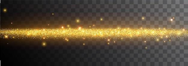 Световой эффект на черном фоне. золотая светящаяся неоновая линия со светящейся пылью и бликами. светящаяся тропа. абстрактный стильный световой эффект