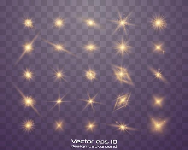 光効果セット。輝く星、ハイライト効果で太陽の粒子と火花、色ボケライトキラキラとスパンコール。暗い背景に透明。