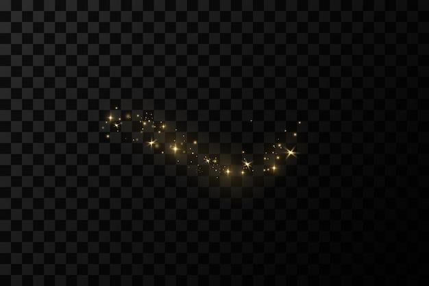 光の効果きらめくほこりの粒子ほこりの火花と金色の星が輝きます