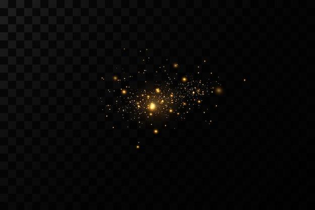 Световой эффект сверкающие волшебные частицы пылисверкают искры пыли и золотые звезды