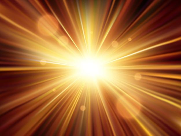 조명 효과. 스타 버스트. 골드 반짝이 별 또는 태양. 벡터 배경 eps10