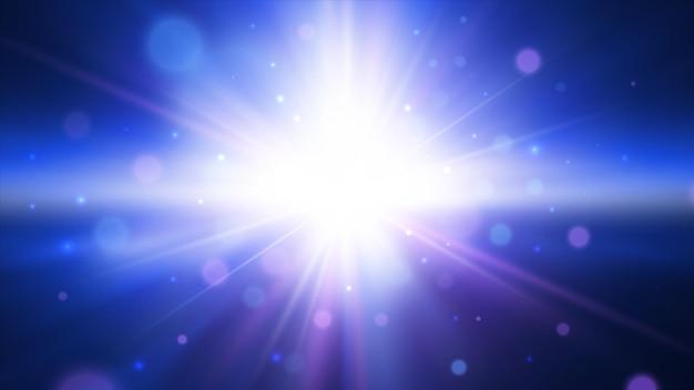 きらめく青い背景で光の効果スターバースト