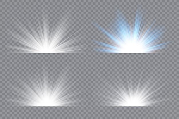 Light effect stars bursts. sunrise, dawn.   transparent sunlight. concept for illustration template art design, banner for christmas, celebrate.