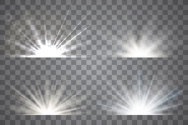 Light effect stars bursts. sunrise, dawn.   transparent sunlight.