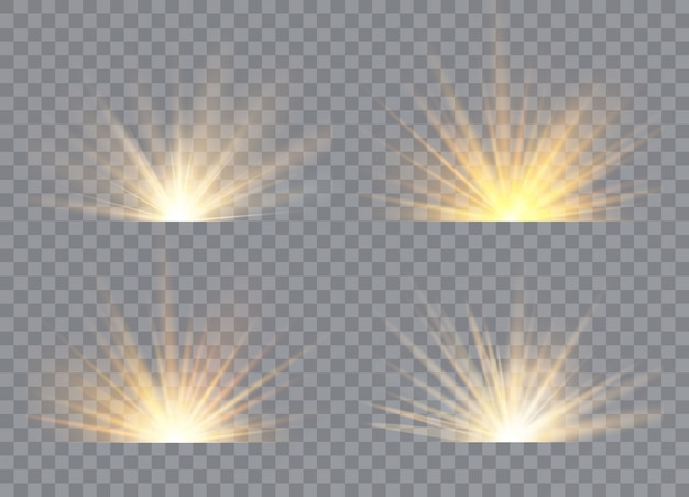 Light effect stars bursts. sunrise, dawn.   transparent sunlight.