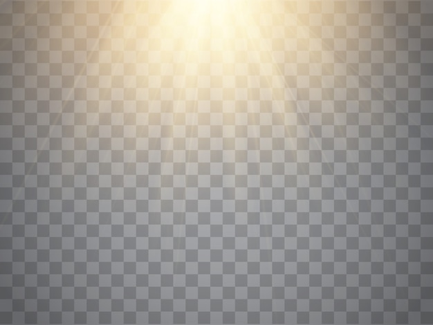 Light effect, sun rays, beams on transparent background.