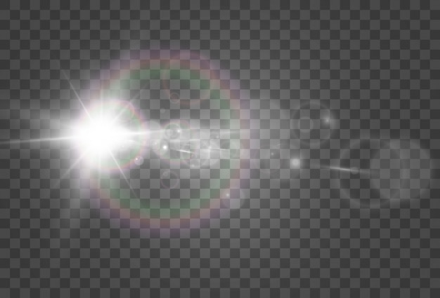A light effect on a transparent background. bright beautiful star.