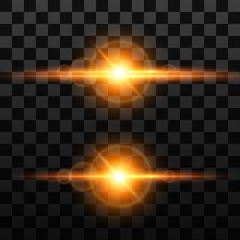 Light effect on transparent background, sun flare, sparkling glitter flashes, lens shine.