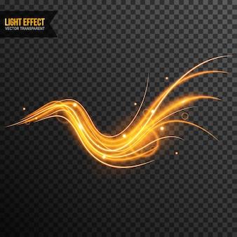 ゴールデン・スパークルで透明なライト効果ベクトル Premiumベクター