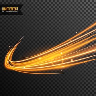 Light effect vector transparent with golden sparkles