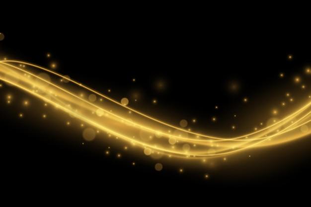透明な特殊効果で分離された輝く金の波線と輝きの光の効果..ベクトル図