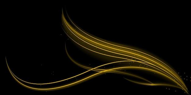 Световой эффект со светящимися золотыми волнистыми линиями и блестками, изолированных на прозрачном специальном эффекте .. векторная иллюстрация