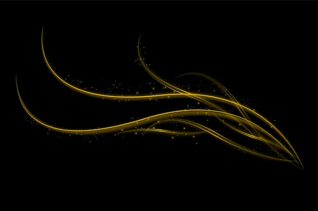 Light effect with glowing gold wavy lines and sparkles isolated on transparent special effec.. vector illustration