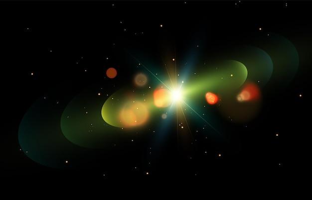 Световой эффект с лучами и бликами звездный космос вектор
