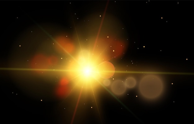 Light effect with rays and highlights star cosmos vector