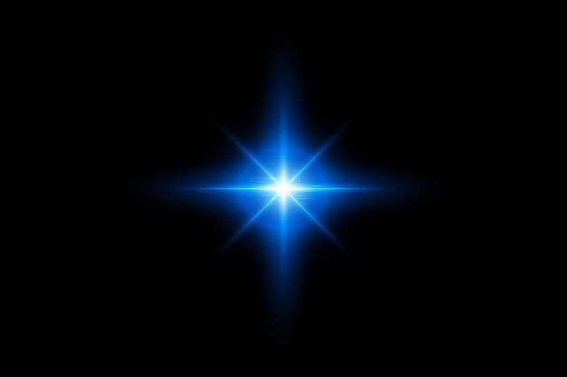 어두운 배경에 조명 효과. 빛나는 그라데이션 반짝이, 밝은 플레어. 별