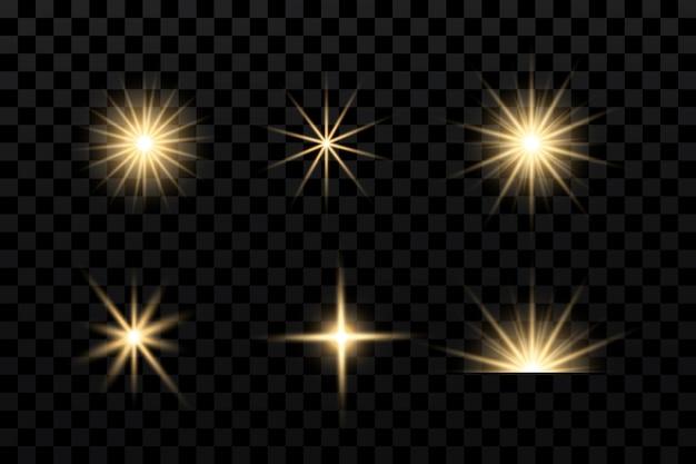Световые эффекты устанавливают золотые звезды боке, сверкающие частицы