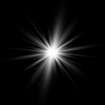 光の効果。白い輝く光バースト爆発。