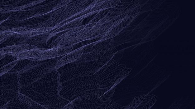 Light equalizer wave on purple digital sound wave, wavy particle surface