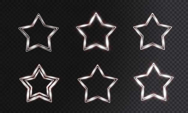 星の形をした軽いお祭りのガラスフレーム。クリスマスの白い星。